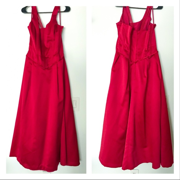 Mary's Bridal Dresses & Skirts - Red Satin Plus Size Corset Top Formal Dress - 16